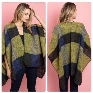 Multi-Colored Striped/Checkered Poncho-One Size